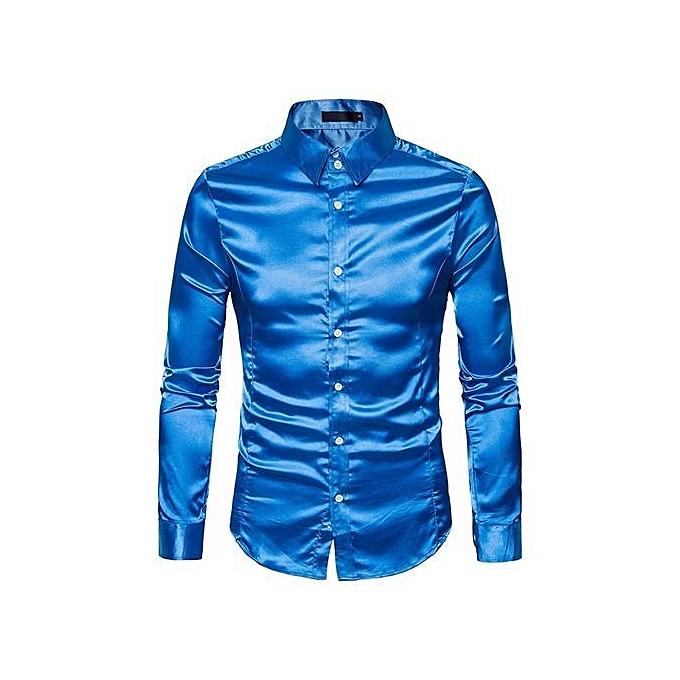 Cuena mode Personality Hommes& 039;s Décontracté Slim Long-sleeved Shirt Top chemisier - bleu   L à prix pas cher