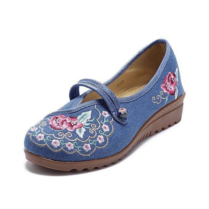 Fashion Vintage Old Peking femmes chaussures Flower Embroidery Comfortable Soft Flats à prix pas cher    Jumia Maroc