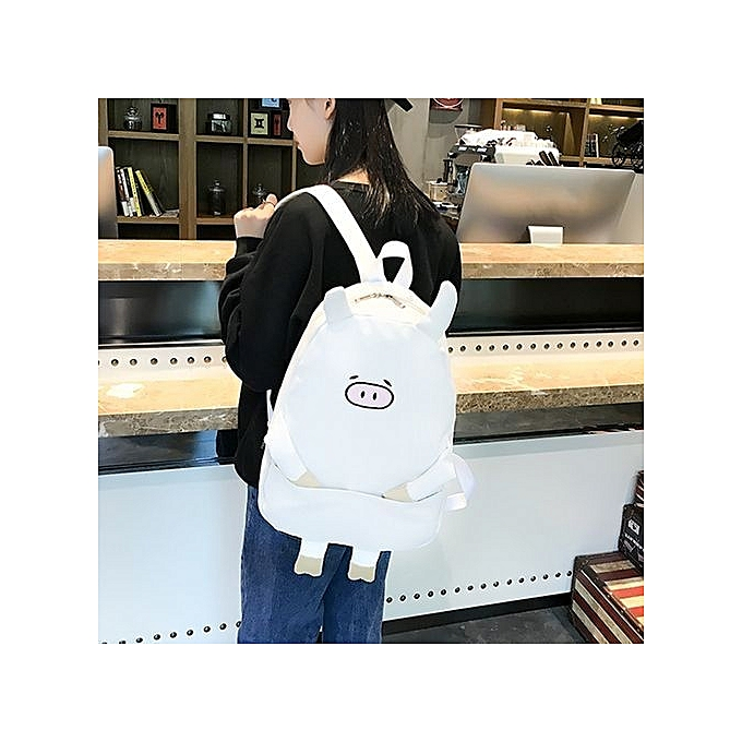 Neworldline femmes Girl Canvas Piggy Print Cute School Bag Travel Backpack Bag WH-blanc à prix pas cher