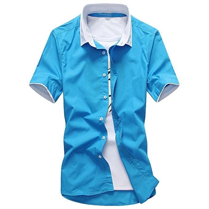 Fashion Men Summer Fashion Short Smart Casual Comfortable Solid Couleur Short Sleeve à prix pas cher