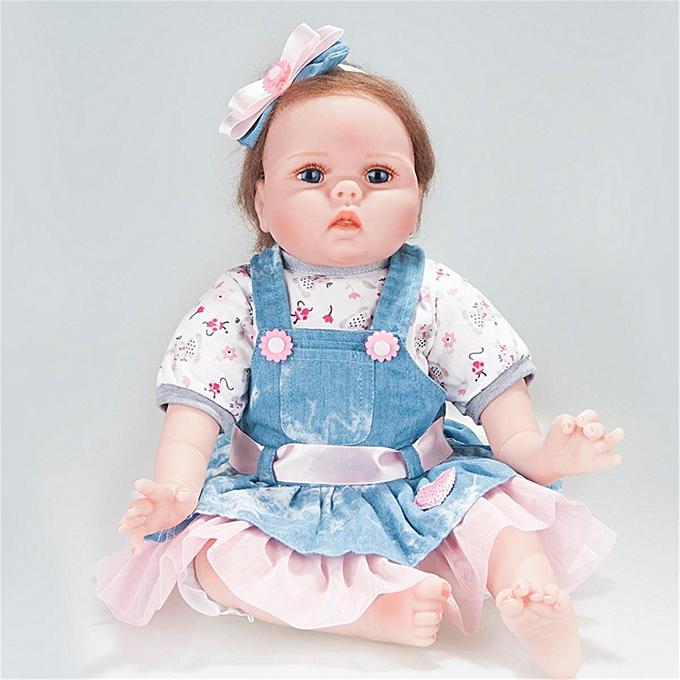 Autre Réel Lifelike Reborn   Dolls Full Vinyl Silicone Fille Bébé Cadeaux D'anniversaire Bleu et blanc à prix pas cher