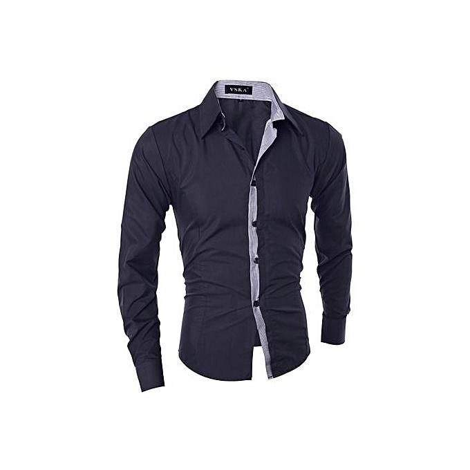 Generic Men's Contrast Couleur Closure Slim Fit Long Sleeve Casual Shirt (noir) à prix pas cher
