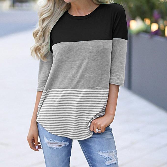 mode Hiamok femmes& 039;s Décontracté Loose rayé Patchwork Lace Three Quarter Sleeve Shirts BK L à prix pas cher