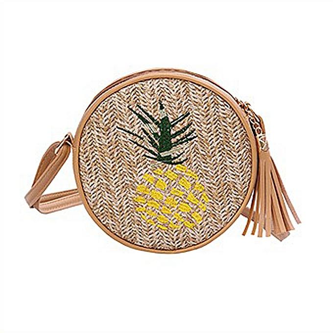 Other Aelicy Round Straw Bag  Bags  Summer Rattan Bag hand-woven Beach Circle Bohemian Handbag New Fashion(A) à prix pas cher