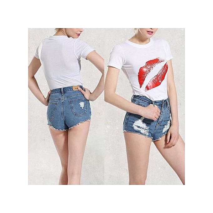 Fashion femmes Lip Short Sleeve Printing T-Shirt Summer Casual Loose Tops Blouse (blanc Lips) à prix pas cher