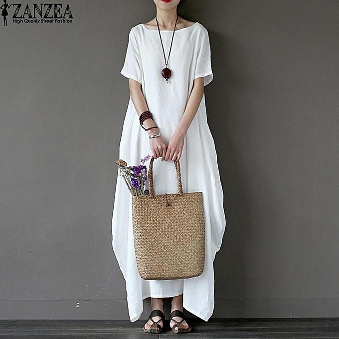 Fashion Robe Volante Manches Courtes - blanc à prix pas cher