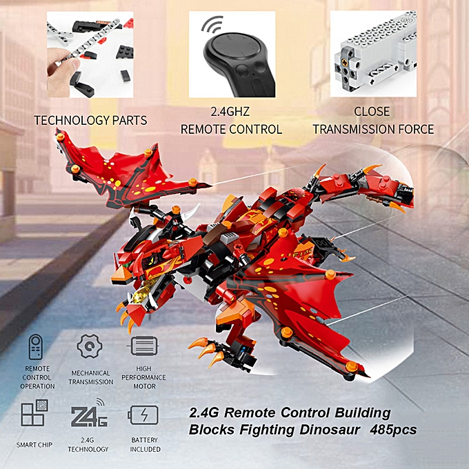Autre 2.4G Remote Control Building Blocks Fighting Dinosaur DIY Dragon Toys Set for garçons and Girls 485pcs à prix pas cher