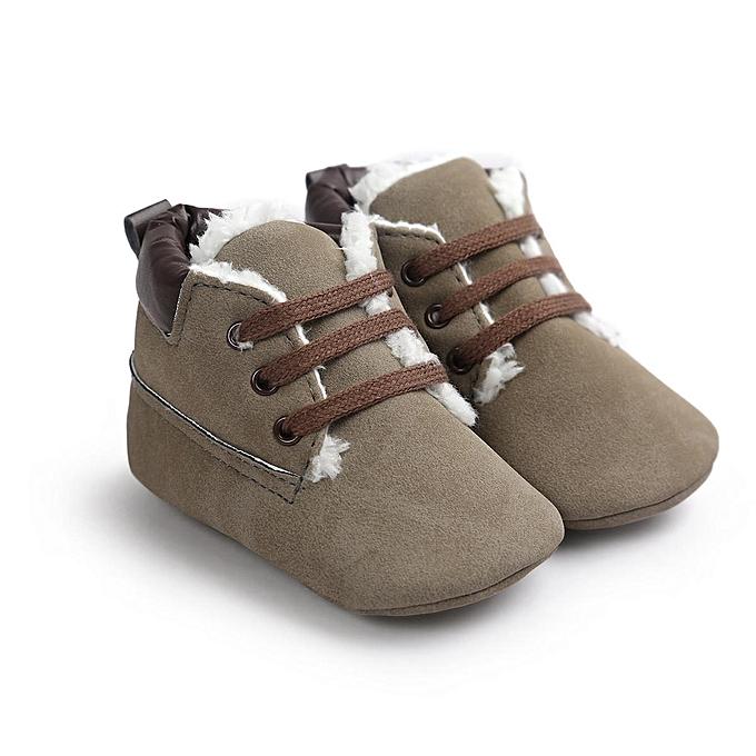 Fashion Newborn Toddler Boy Baby Crib bottes Winter Soft Sole Leather Crib chaussures 0-18M gris-UK à prix pas cher    Jumia Maroc