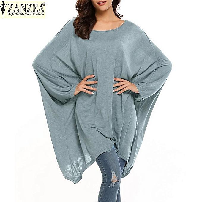 Zanzea ZANZEA  Fall Robe femmes& 039;s Elegant nouveau Solid Couleur Tunic Décontracté Party Loose courte Robees manche longue Lady Robe Plus Taille (gris) à prix pas cher