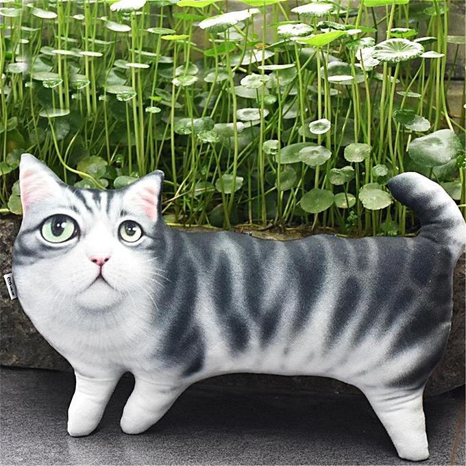 UNIVERSAL 3D Print Novelty Cat Shape PilFaible Bolster Toy Cushion Adorable drôle Deco Design à prix pas cher