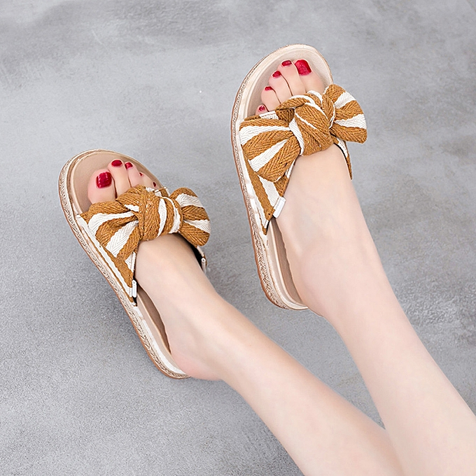 Fashion jiahsyc store Slippers Wohommes chaussures Muffin With Sandals Summer Slippers Bow Casual chaussures à prix pas cher