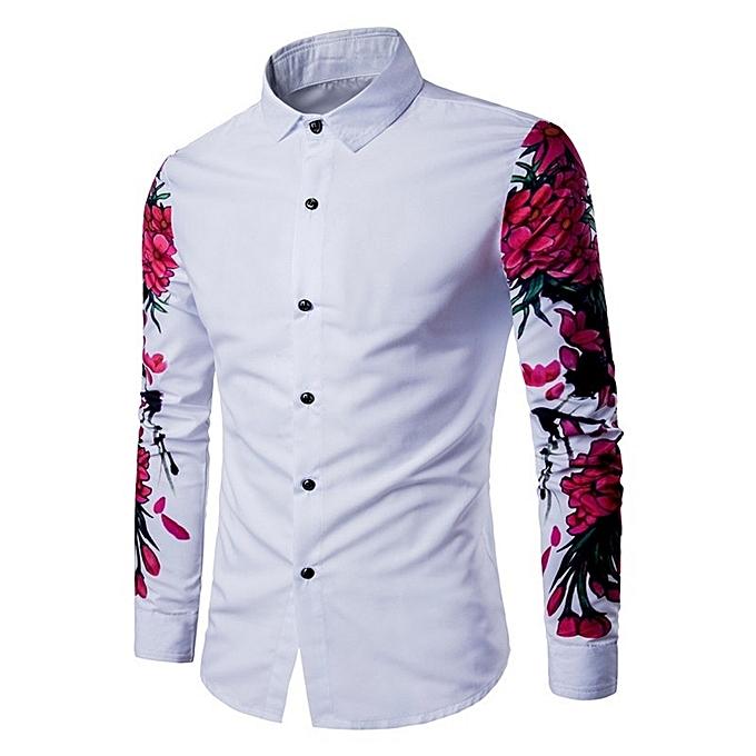 Other Stylish Men's Digital Printing Long Sleeve Floral Shirt à prix pas cher