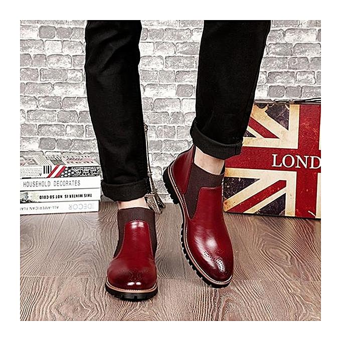 Fashion Fashion Fashion Fashion   Vintage Pointed Toe Hollow Out Genuine Leather Elastic Panels Ankle Boots-EU à prix pas cher    Jumia Maroc 759096