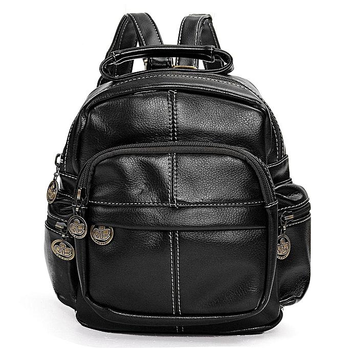 UNIVERSAL Fashion femmes Vintage Mini Leather Travel Backpack Tote Rucksack Purse Cute Bag noir à prix pas cher