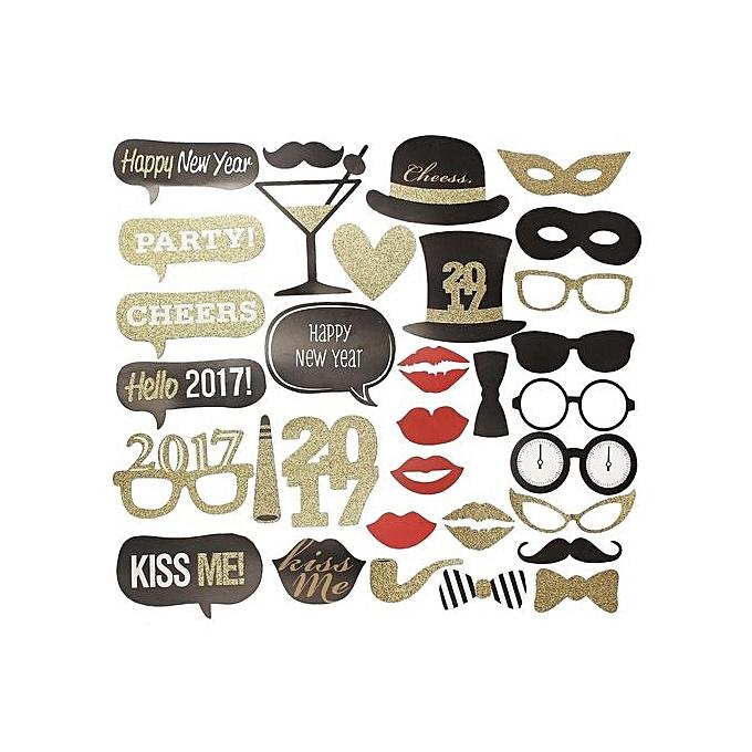 UNIVERSAL 32PCS 2017 nouveau Year's Eve Party voitured Masks Photo démarrageh Props Mustache On A Stick à prix pas cher