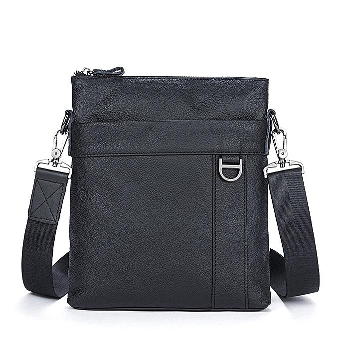 Other MJ Men's Shoulder Bag  Leather Messenger Bag Real Leather Male Bags Solid Crossbody Handbag for Men High Capacity(noir) à prix pas cher
