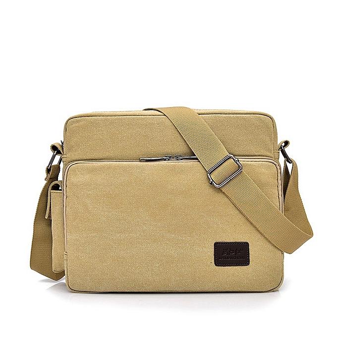 Other 2019 Canvas Multifunction Mens Messenger Shoulder Bags Solid Briefcases Suitcase Card Pocket For Men femmes Office Outdoor Travel(Light Khaki) à prix pas cher