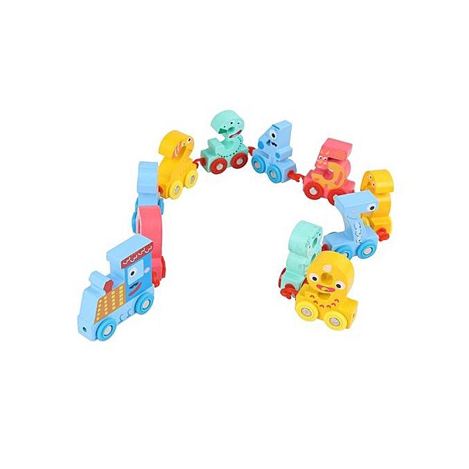 Generic Wooden Alphabet Train Educational Developmental Baby Kids Training Toy à prix pas cher