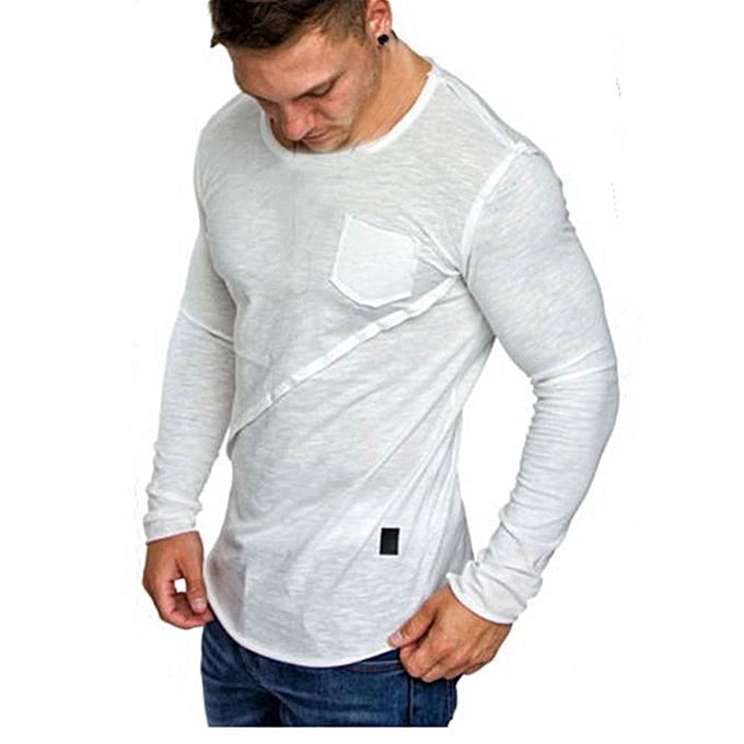 Fashion Men Long-Sleeve Beefy Muscle Button Basic Solid Pure Couleur Blouse Tee Shirt Top -blanc à prix pas cher