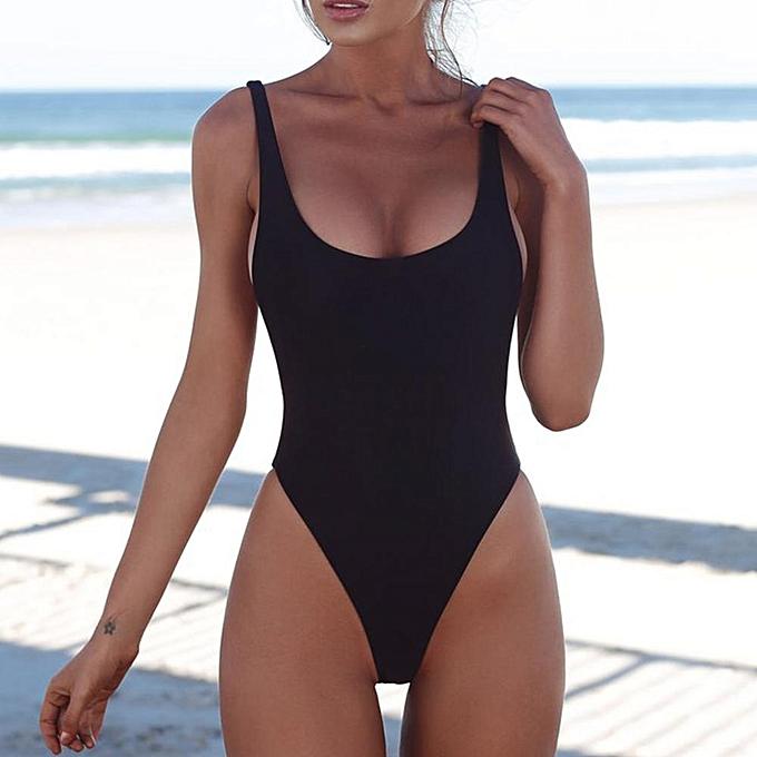 Other Thong 2019  One Piece Swimsuit Solid Female noir Swimwear femmes Backless blanc Brazilian Monokini Bathing Suit XL(AS  picture  show) à prix pas cher