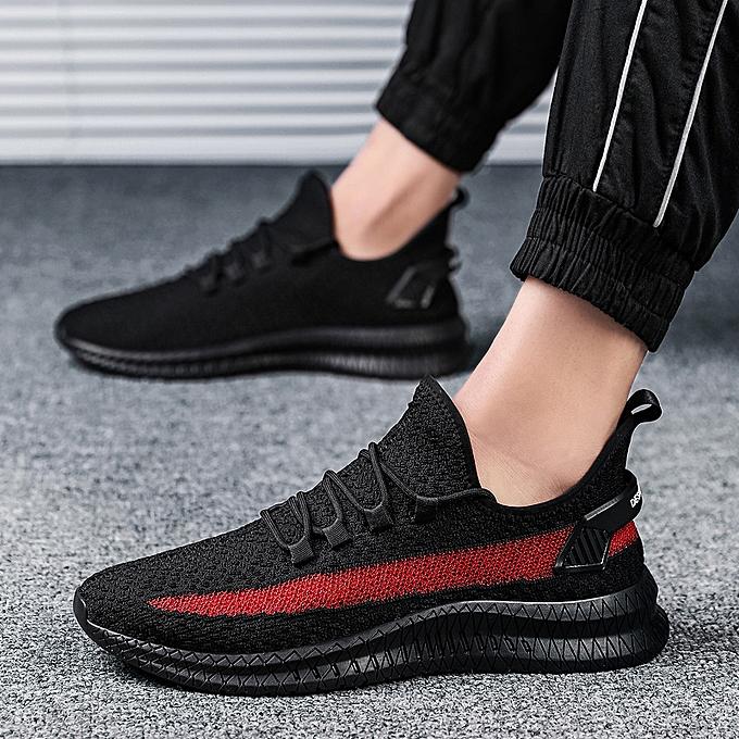 Tauntte Hommes paniers Flyknit Sports FonctionneHommest Male Athletic voyage chaussures (noir&rouge) à prix pas cher