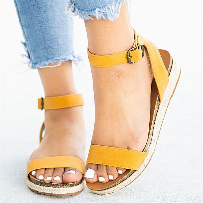 mode (Xiuxingzi) Wohommes Ladies Strap Ankle Buckle Flatform Wedges Woven Sandals Rohomme chaussures à prix pas cher