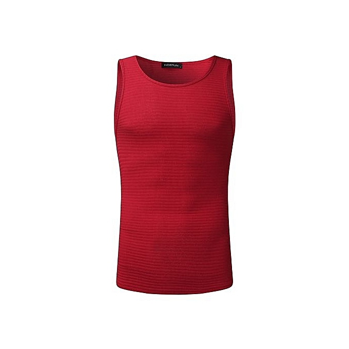 Fashion Fashion New Men's Sleeveless Casual T-Shirt Scoop Neck Solid Slim Fit Tank Tee Top (rouge) à prix pas cher