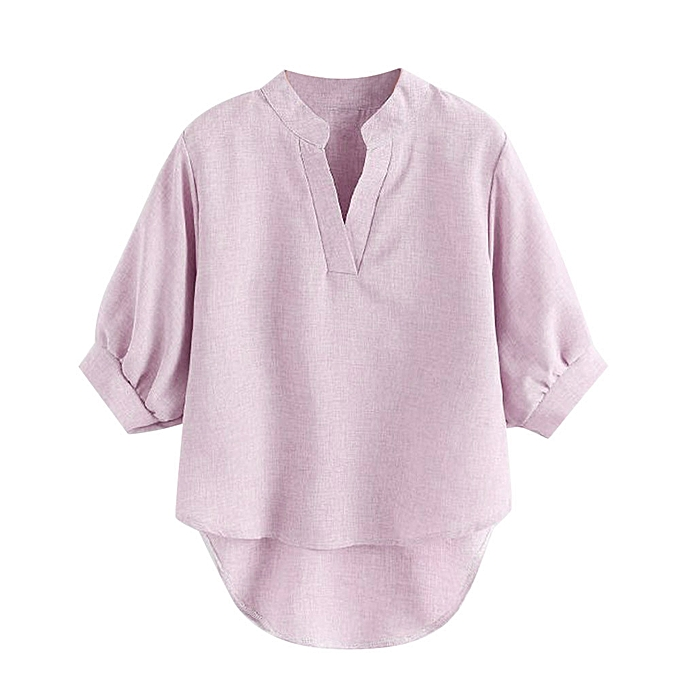 Generic Generic femmes Ladies Short Sleeve Solid Summer Casual  V Neck Blouse Top Shirts A1 à prix pas cher