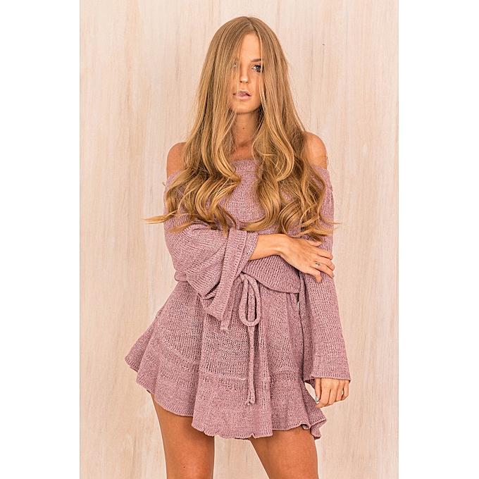OEM nouveau Padded Shoulder chandail Robe jupe-violet à prix pas cher