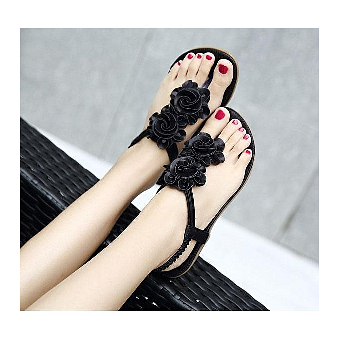 Fashion Fashion Flower Bohemia Clip Toe Elastic Flat Sandals For femmes-EU à prix pas cher