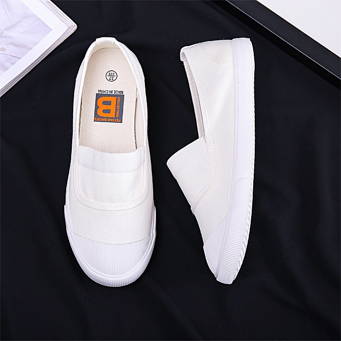 Fashion New femmes canvas chaussures summer Korean version of the elastic blanc chaussures flat with a pedal casualblanc à prix pas cher    Jumia Maroc