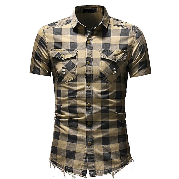Fashion jiahsyc store Men's Slim Fit Button Plaid Shirt With Pocket Short Sleeve Tops Blouse BG L à prix pas cher