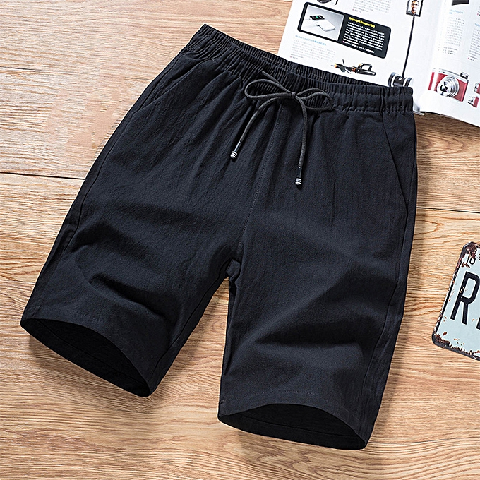 Fashion Mens Summer Fashion Leisure Linen Loose Belt Drawstring Beach Sports Shorts Pant à prix pas cher