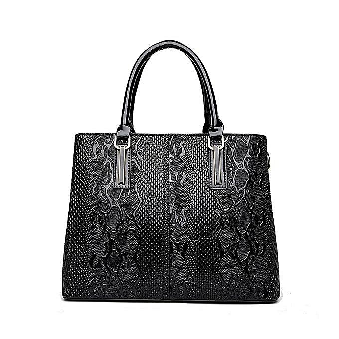 Fashion femmes PU Patent Leather Elegant Handbag Shoulder Bag Crossbody Bag  noir à prix pas cher