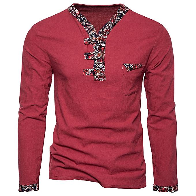 mode Hommes& 039;s Retro Décontracté Patchwork Print T Shirt manche longue Top chemisier  -rouge à prix pas cher