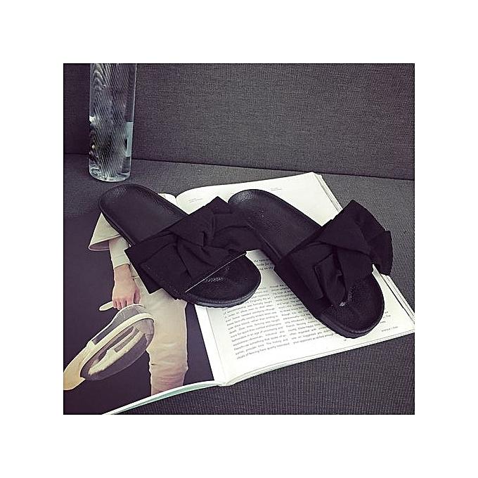 Fashion Blicool chaussures Summer femmes Bow Wedge Sandals Beach chaussures Flip Flops Platform Slippers BK  noir à prix pas cher