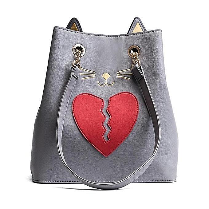 mode femmes PU cuir Cat Shape Handsac Heartbroken Kitty Shoulder sac lumière gris à prix pas cher