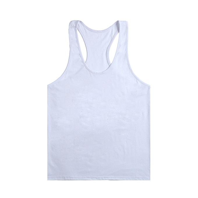 Other nouveau mode Hommes& 039;s Cotton Thin Shoulder Strap Pure Couleur Blank Bodybuilding Vest-blanc à prix pas cher