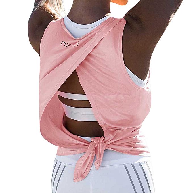 Generic Generic femmes Yoga Split Sexy Loose Gym Sport Vest Training courir hauts T Shirt Tank hauts A1 à prix pas cher