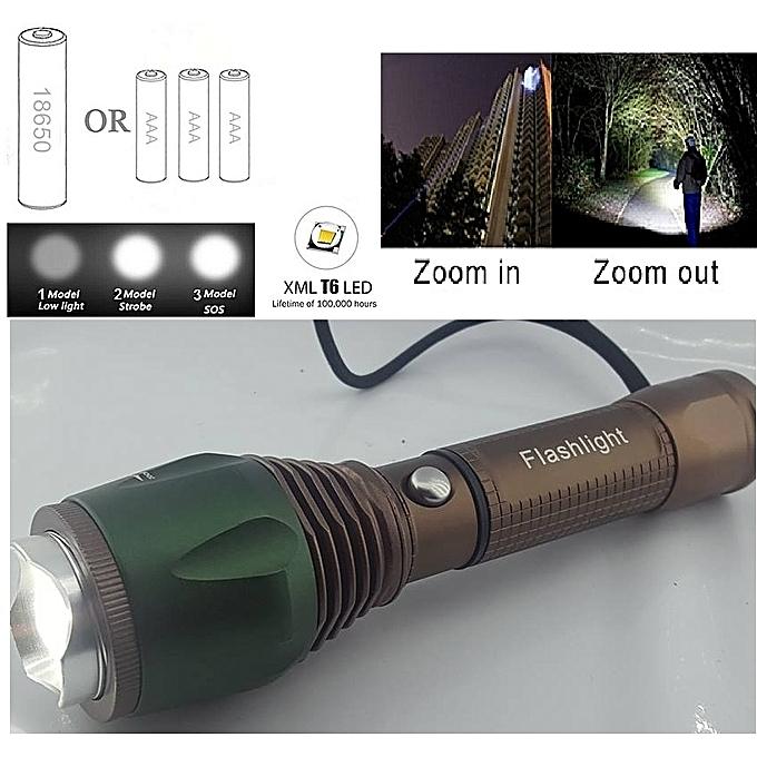 Generique Torche Lampe De Poche Led Zoomables Flashlight De Peche