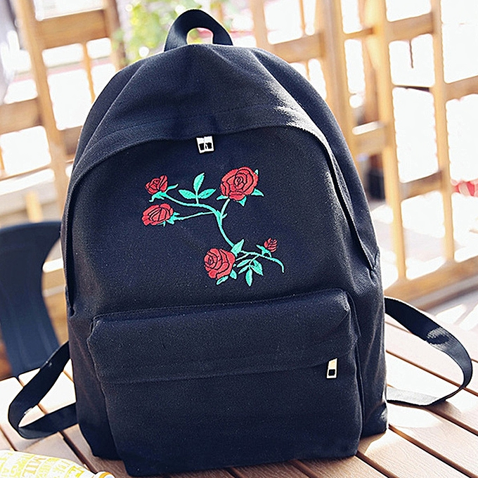 mode Tcetoctre femmes Girls toile Embroidery FFaibleers School sac voyage sac à dos sac - noir à prix pas cher