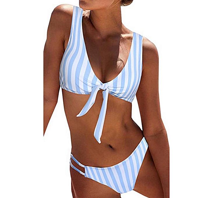 mode TCE femmes& 039;s Detachable Padded Cutout Push up rayé Bikini Set maillot de bainL à prix pas cher