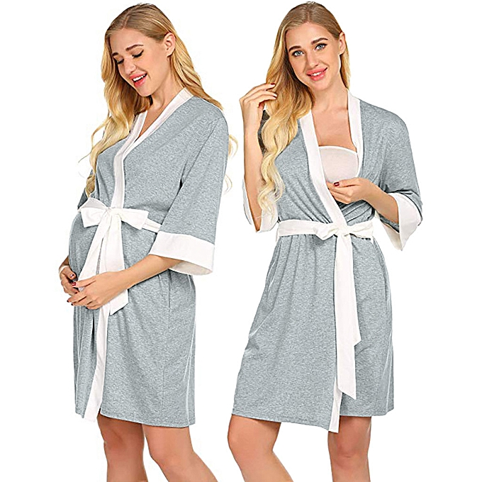 mode Maternity Nursing Robe Delivery Nightgowns Hospital Breastfeeding Gown à prix pas cher