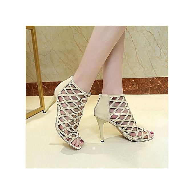 Fashion Wohommes Peep Toe talons hauts chaussures Rivet Rohomme Gladiator SandalsGift à prix pas cher