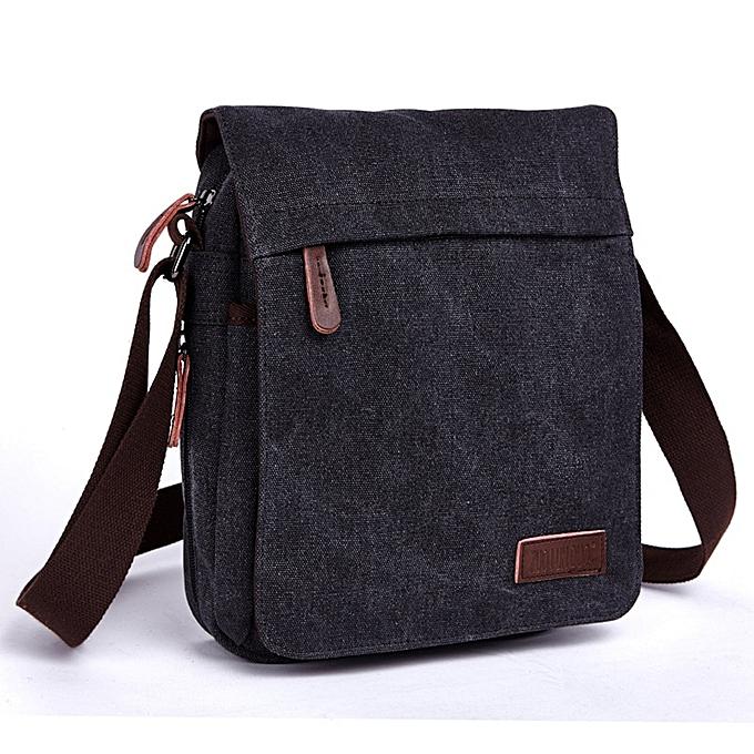 Other New 2019 Design Men Canvas Messenger Bag High Quality Casual Handbags Satchels Crossbody Shoulder Bags  bolsa an681(noir) à prix pas cher