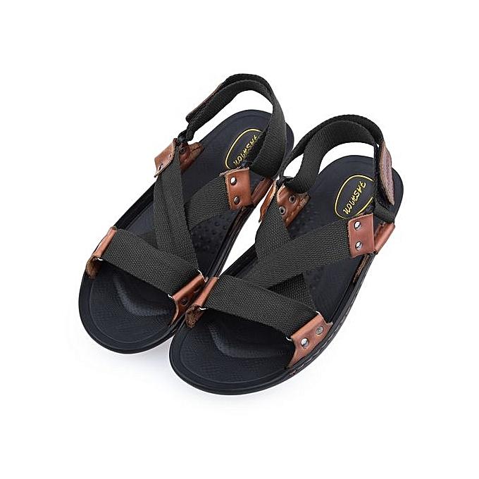 Générique Male Cross Strap Beach Leather Sandals à prix pas pas prix cher  | Jumia Maroc 10e48d