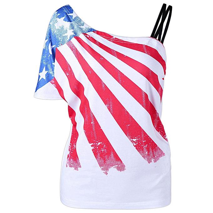 Fashion Meibaol store femmes Sexy One Shoulder Skew Collar Patriotic American Flag Printed Blouse Tops à prix pas cher