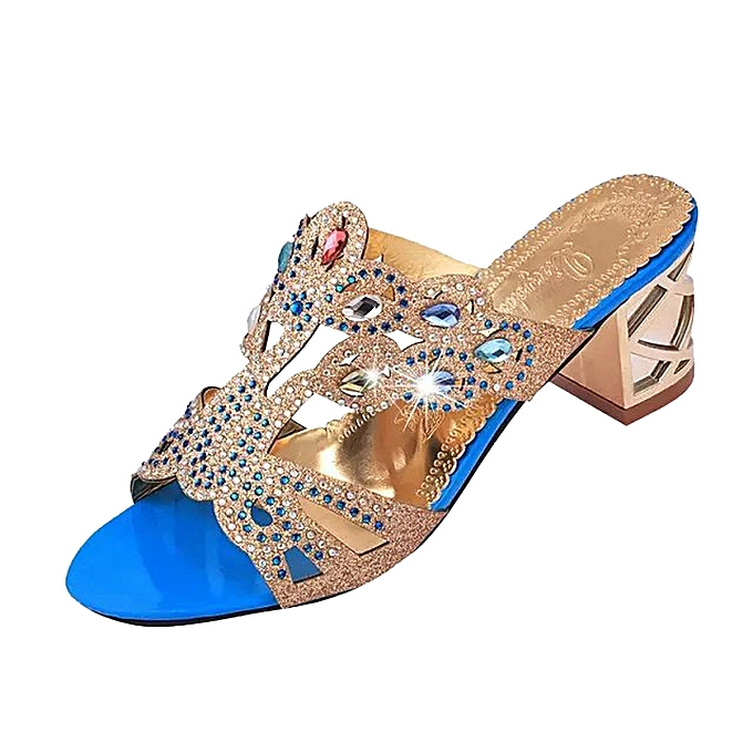 Fashion Blicool Shop femmes Sandals Summer Fashion femmes Girl Big Rhinestone High Heel Sandals Ladies Beach Sandal -bleu à prix pas cher    Jumia Maroc