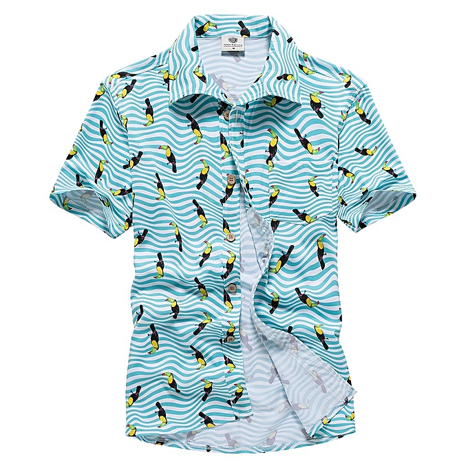 mode Hommes& 039;s Printed Décontracté Stripe Button-Down manche courte Slim  Shirts hauts chemisier à prix pas cher