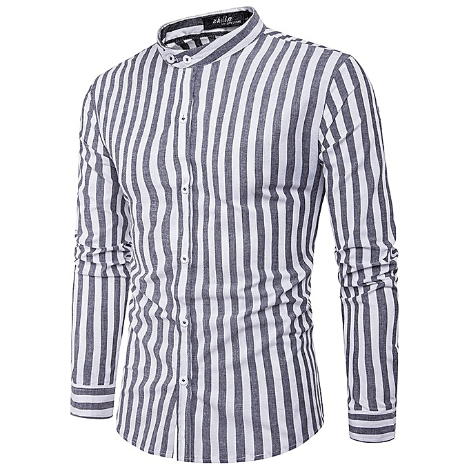 Other Stylish Long Sleeves Casual Men's Cross Stripes Shirt à prix pas cher